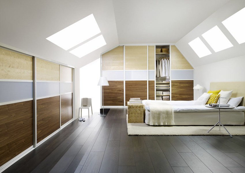 Fitted loft sloping ceiling and awkward space furniture for Bedroom door ideas loft apartment