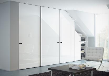 Fitted sloping ceiling ceiling sliding door wardrobe - Loft sliding door wardrobe